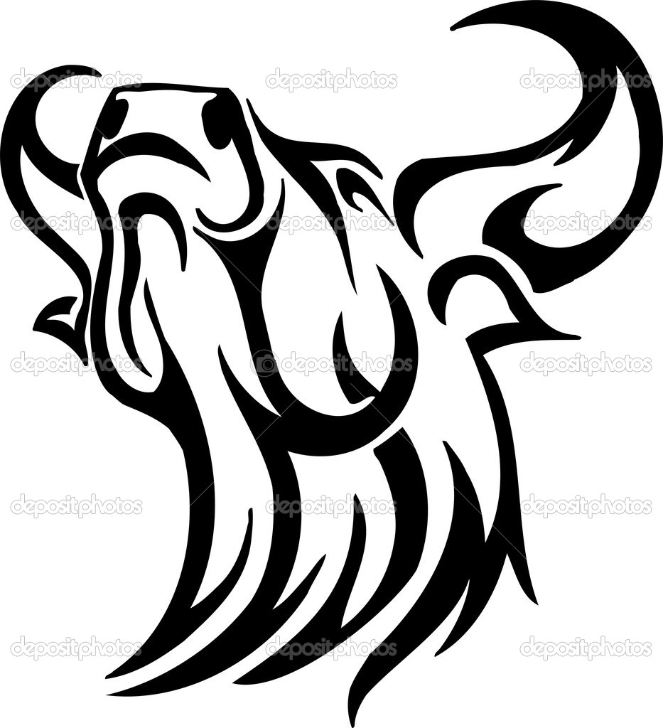 Black and white image bull in tribal style - vinyl-ready! — Stock Vector #9027952