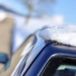 Snow on the car — Stock Photo