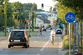 Ciclista na cidade — Foto Stock