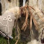Handmade wreath on the door — Stock Photo #10610492