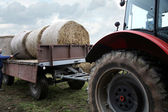 Tractor loaded feed straw — Stock Photo