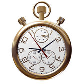 Gold old clock on white — Foto Stock