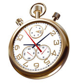 Gold old clock on white — Foto de Stock
