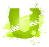 Green abstract paint splashes font. Letter U — Stock Vector