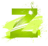 Green abstract paint splashes font. Letter Z — Stock Vector