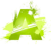 Green abstract paint splashes font. Letter A — Stock Vector