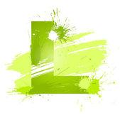 Green abstract paint splashes font. Letter L — Stock Vector