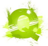 Green abstract paint splashes font. Letter Q — Stock Vector