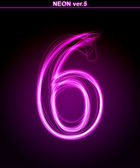 Glowing font. Shiny number 6 — Stock Photo