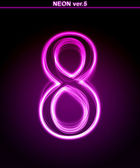 Glowing font. Shiny number 8 — Stock Photo