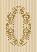 Floral font. Number 0 — Stock Vector