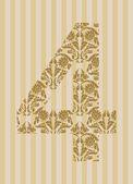 Floral font. Number 4 — Stockvektor