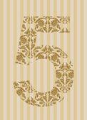 Floral font. Number 5 — Stock Vector