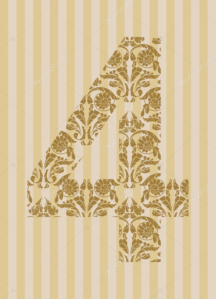 Floral font. Ornament number on decoration background (see other in my portfolio). — Stock Vector #10469380