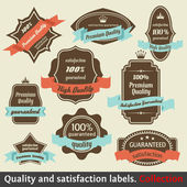 Vintage Premium Quality and Satisfaction Guarantee Label collect — Stockvector