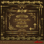 Gold calligraphic design elements vol2 — Stock Vector