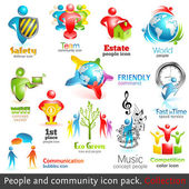 Community 3d icons. Vector design elements. Vol. 2 — Stock Vector