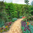 Walkway winding its way through a tranquil garden - Stock Photo