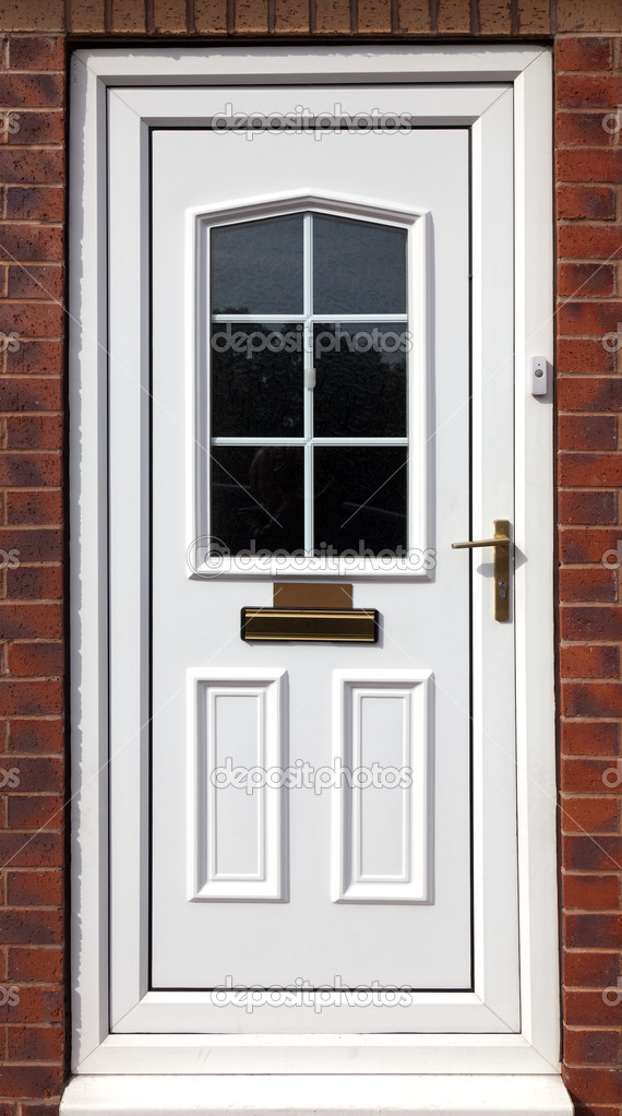 White front door in a red brick building stock photo for White front door