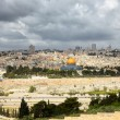 Jerusalem and stormy clouds - Stock Photo