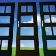 Stock Photo: Doors on green field