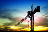 Construction site at sunset — Stock Photo