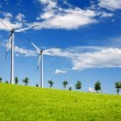 Green land with turbine — Stock Photo