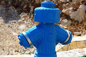 Fire blue hydrant — Stock Photo
