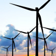 Wind turbines panorama — Stock Photo