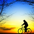 Bike trip at sunset - Stock Photo
