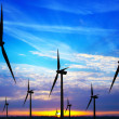 Windpark at sunset - Stock Photo