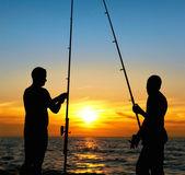 рыбалка на закате — Стоковое фото