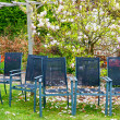 Row of chairs in the spring garden — Stock Photo