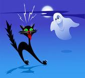 Gato y el fantasma — Vector de stock