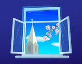 Easter window — Stock Vector