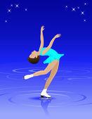 女性フィギュア スケート選手 — ストックベクタ