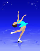 Female Figure Skater — 图库矢量图片