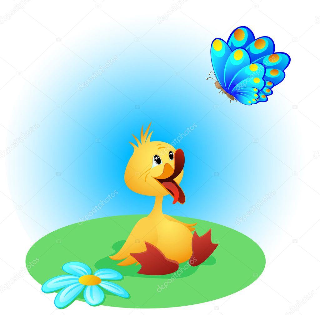 可爱小鸭与开放的嘴和一只美丽的蝴蝶