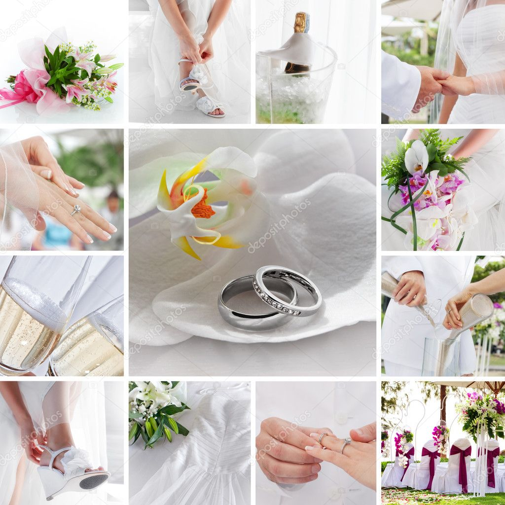 Wedding theme collage composed of different images  Stock Photo #8858327
