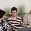 Royalty-Free Stock Photo: Family to view a laptop