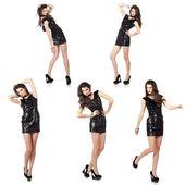 Modelka v flitr šaty — Stock fotografie