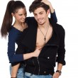 Happy sensual young couple playing - Stock Photo
