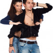 Sexy young woman taking clothes off his boyfriend, — Stock Photo