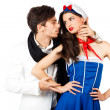 Confident young man flirting with sailor woman — Stockfoto