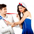 Joyful couple roleplay sailor uniform — Stock Photo