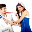 Joyful couple roleplay sailor uniform - Stock Photo