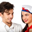 Young couple of beautiful sailor woman and captain — Foto de Stock