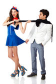 Sailor woman and elegant man flirting — Stock Photo