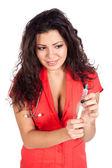 Sexy pielęgniarki lub kobieta lekarz z strzykawka — Zdjęcie stockowe