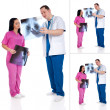 Collage of two doctors with radiography — 图库照片
